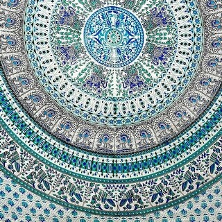 Handmade Elephant Mandala Tapestry 100% Cotton Dorm Tablecloth Bedspread Throw Beach Sheet Turquoise Twin Full|https://ak1.ostkcdn.com/images/products/is/images/direct/09d5906703f6a01336a26f791ac9709d2b2826af/Handmade-Elephant-Mandala-Tapestry-100%25-Cotton-Dorm-Tablecloth-Bedspread-Throw-Beach-Sheet-Turquoise-Twin-Full.jpg?_ostk_perf_=percv&impolicy=medium
