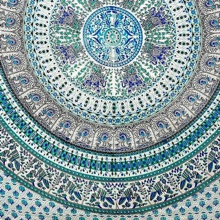Handmade Elephant Mandala Tapestry 100% Cotton Dorm Tablecloth Bedspread Throw Beach Sheet Turquoise Twin Full|https://ak1.ostkcdn.com/images/products/is/images/direct/09d5906703f6a01336a26f791ac9709d2b2826af/Handmade-Elephant-Mandala-Tapestry-100%25-Cotton-Dorm-Tablecloth-Bedspread-Throw-Beach-Sheet-Turquoise-Twin-Full.jpg?impolicy=medium