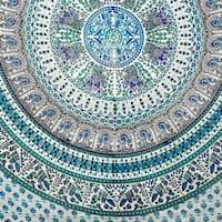 Handmade Elephant Mandala Tapestry 100% Cotton Dorm Tablecloth Bedspread Throw Beach Sheet Turquoise Twin Full