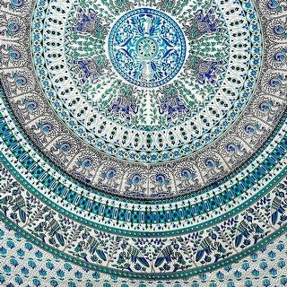 Handmade Elephant Mandala Tapestry 100% Cotton Dorm Tablecloth Bedspread Throw Beach Sheet Turquoise Twin Full