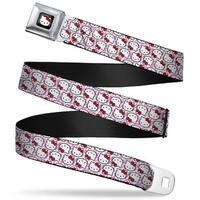 Hello Kitty W Red Bow Full Color Black Hello Kitty Flip Faces Zebra White Seatbelt Belt