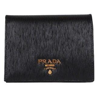 """Prada Women's 1MV204 2EZZ Vitello Black Leather Small Bifold Wallet W/Coin - 4.41"""" x 3.35"""""""