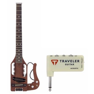 Traveler Guitar Acoustic-Electric Travel Guitar, Gig Bag and Mini Plug In Amp