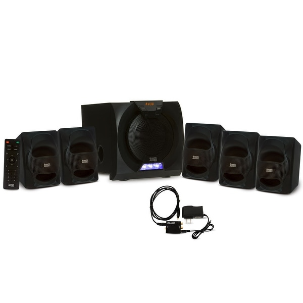 Acoustic Audio AA5230 Home 5.1 Bluetooth Speaker System with LED & Optical Input