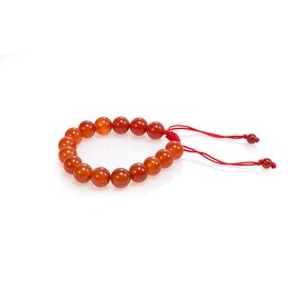 Natural Stone Meditation Stretch Bracelet Tibetan Mala, Carnelian Red