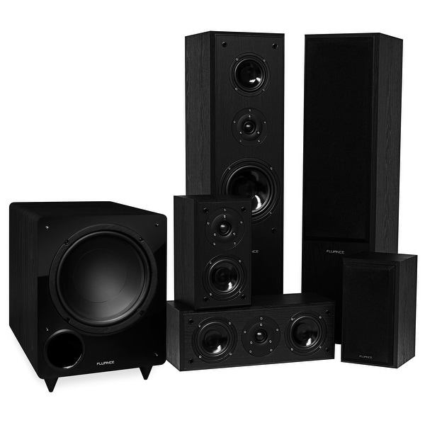 Fluance Classic Series Surround Sound Home Theater 5.1 Channel Speaker System - Black Ash (AV51BR)