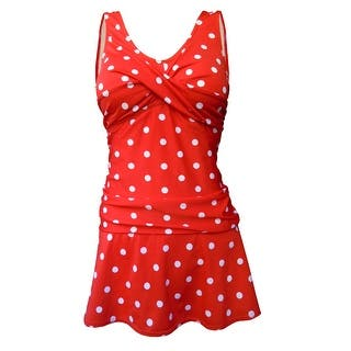Twist Front Rusched Side Tank Strap Swimdress in Red/White Polka Dot|https://ak1.ostkcdn.com/images/products/is/images/direct/09d6647e6d1fa3904aca90109715bb92ccc486af/Deep-Blue-Swim-by-Oxygen%27s-Red-w-White-Polka-Dot-Retro-Style-Swimdress-w-Tank-Style-Straps.jpg?impolicy=medium