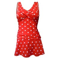 Twist Front Rusched Side Tank Strap Swimdress in Red/White Polka Dot