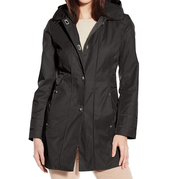 Anne Klein Womens Raincoat Black Size XL Removable Hood Turn Key Closure