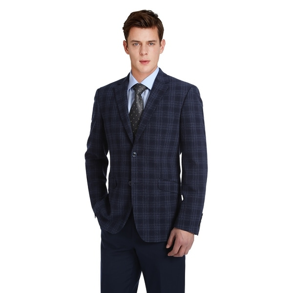 Mens Slim Fit Stretch Windowpane Lightweight Seersucker Summer Blazer