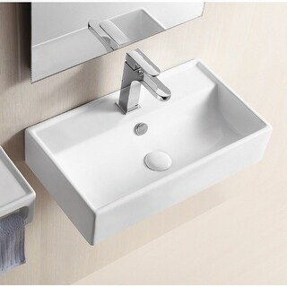 "Nameeks CA4335  Caracalla 21-2/3"" Ceramic Wall Mounted Bathroom Sink with 1 Faucet Hole and Overflow - White"