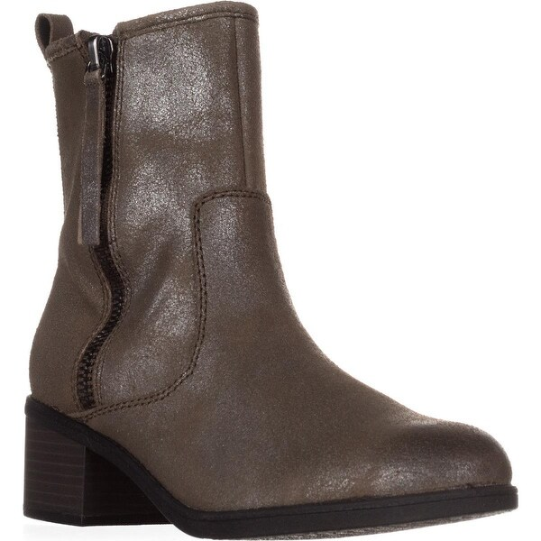 Clarks Nevella Devon Double Zip Combat Boots, Dark Taupe