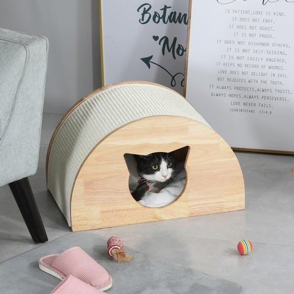 """PawHut Wooden Cat House with Cat-Shaped Entrance Sisal Scratching Carpet Soft Cushion, Natural - 19"""" L x 11.75"""" W x 11.75"""" H. Opens flyout."""