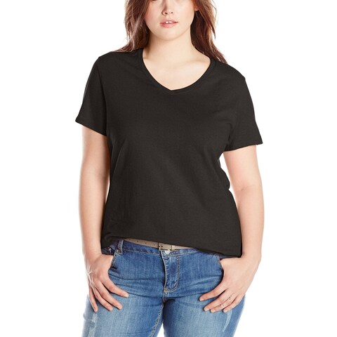 Just My Size Solid Deep Black Women's Size 5X Plus V-Neck Knit Top