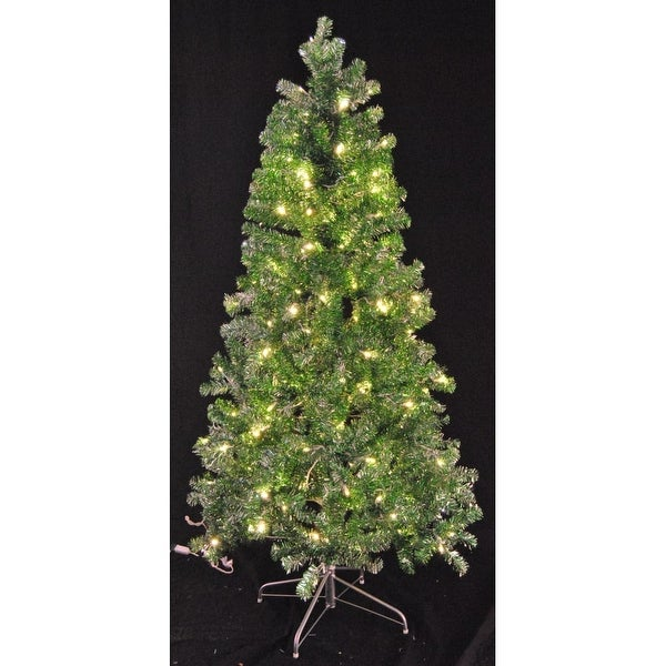 Christmas at Winterland WL-TTR-06-GR/SLV-LWW 6 Foot Tinsel Pre-Lit Christmas Tree Warm White LED Green and Silver