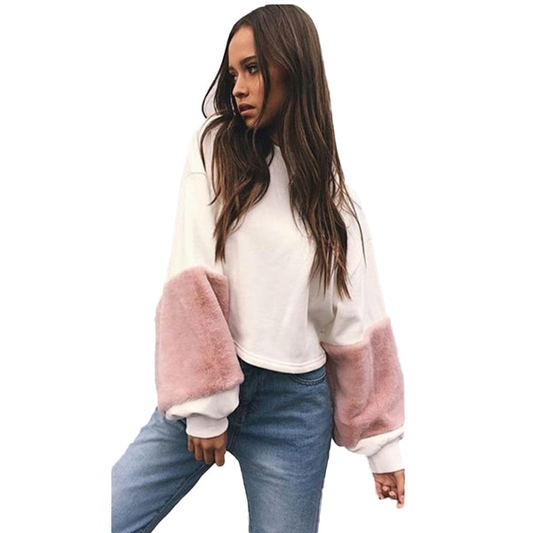 8875a5ec7a Shop Winter Autumn Women Pullover Faux Fur Sleeves Loose Crop Top  Sweatshirt - Free Shipping On Orders Over  45 - Overstock - 23169307