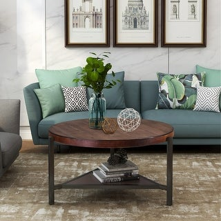 Link to Coffee Table Round Industrial Design Metal Legs Similar Items in Living Room Furniture