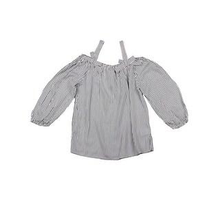 Lori&Jane Girls Black White Striped Cold Shoulder Strap Bow Blouse