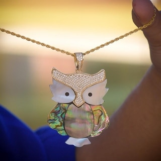 Mother Of Pearl Owl Pendant Night Bird Gold Tone Sterling Silver Ladies Necklace
