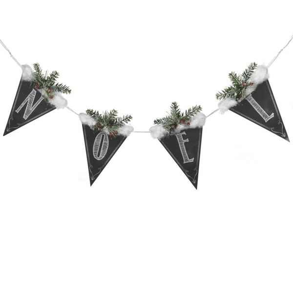 """39"""" Black and White Chalkboard Style Snow and Pine """"Noel"""" Christmas Banner"""