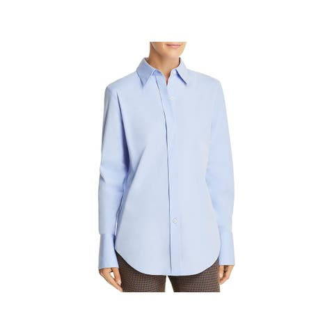Theory Womens Essential Button-Down Top Long Sleeves Office