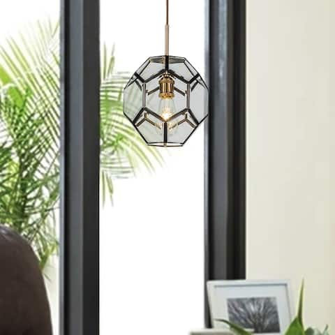 Light Coffee Paiting Lantern polyhedral Pendant Lamp with Clear Glass