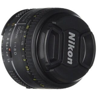 Nikon AF FX NIKKOR 50mm f/1.8D Lens with Auto Focus for Nikon DSLR Cameras - Black