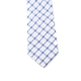 Black Brown 0356 NEW White Blue Mens One Size Gingham Woven Neck Tie