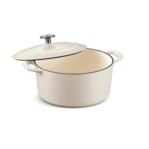 Tramontina 5.5 Qt Enameled Cast-Iron Series 1000 Covered Round Dutch Oven - Matte White