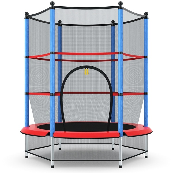 Costway Youth Jumping Round Trampoline 55'' Exercise W/ Safety Pad. Opens flyout.
