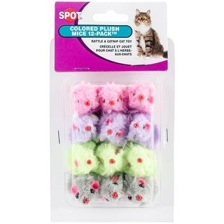 Ethical Colored Plush Mice with Catnip Cat Toy, 12-Pack