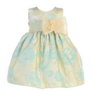 Crayon Kids Baby Girls Turquoise Flocked Flower Adorned Easter Dress 9-24M