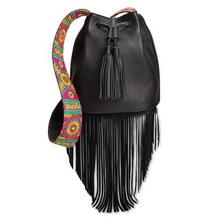 Sam Edelman Womens Cindy Fringe Bucket Bag, Black, Cross Body Embroidered Strap