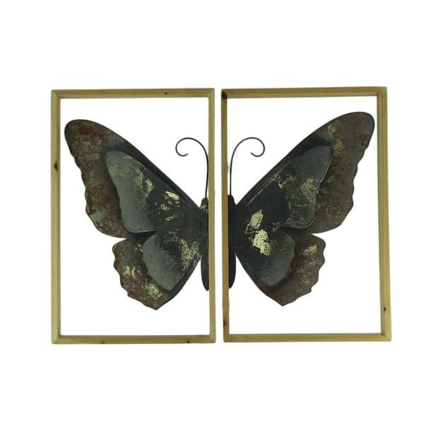 Shop Metal Butterfly Art Duo Wood Framed 2 Piece Wall Decor