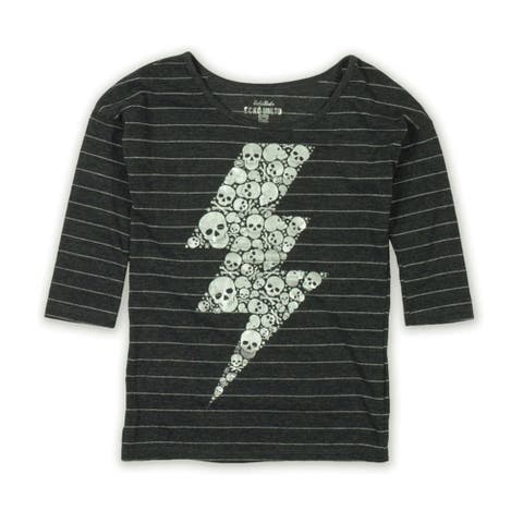 Ecko Unltd. Womens Ls Vnk Mtllc Strp Skull Graphic T-Shirt
