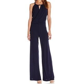 Trina Turk NEW Blue Womens Size 2 Key Hole Chain-Detail Halter Jumpsuit