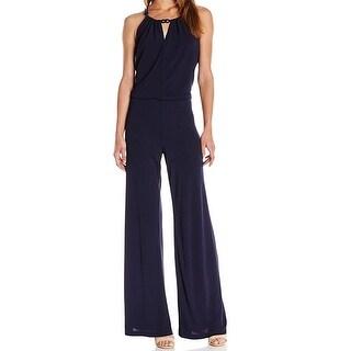 Trina Turk NEW Blue Womens Size 2 Key Hole Chain-Detail Jumpsuit