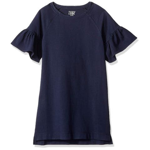 LOOK by Crewcuts Girls' Flare Sleeve Dress, Navy, Large (10) - 10