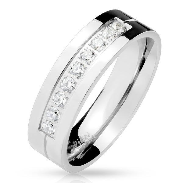 Nine CZ Machine Center Stainless Steel Ring (Sold Ind.)