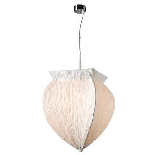 "PLC Lighting 73034WHITE Bombay Single Light 14"" Wide Pendant - Silver"