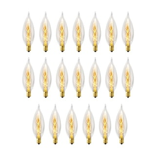 Globe Electric 84308  Pack of (20) 25 Watt Antique Edison Dimmable Candelabra Shaped (E12) Incandescent Bulb - Clear