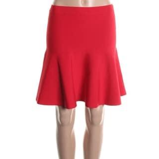 BCBG Max Azria Womens Ingrid Ponte Above Knee Flare Skirt - S