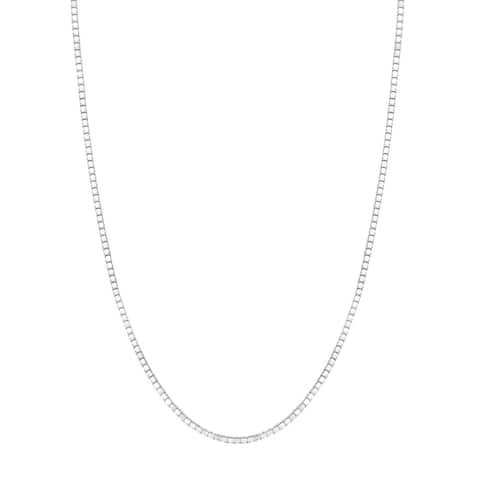 14K White Gold Box Chain Necklace 0.6mm, 16-20""