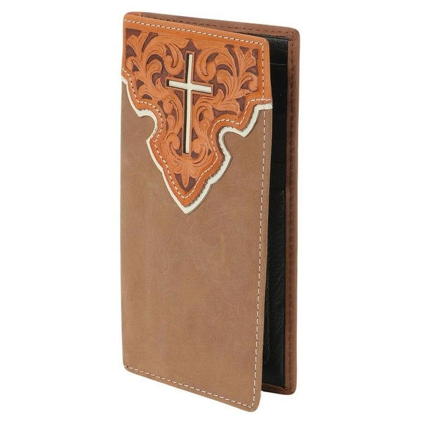 Nocona Western Wallet Mens Rodeo Tooled Cross Inlay Saddle - One size