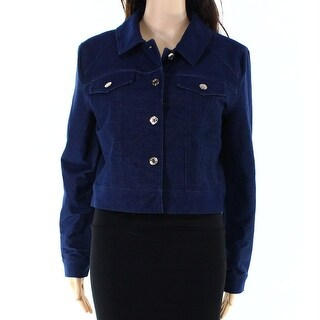 Tommy Hilfiger NEW Blue Womens Size Large L Ponte Denim Button Jacket