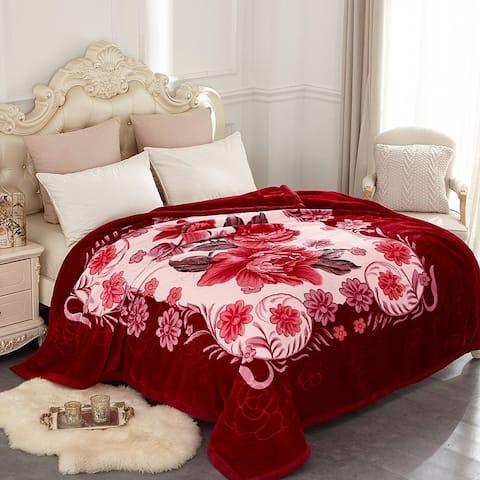Korean-style 2-ply Printed Pattern Plush Mink Fleece Blanket