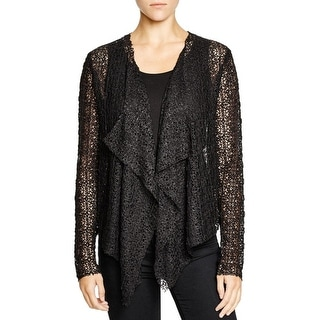 T Tahari Womens Anora Cardigan Sweater Crochet Open Stitch
