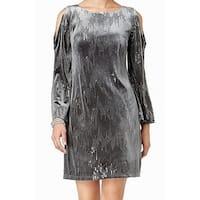 Jessica Howard Womens Sequined Velvet Sheath Dress
