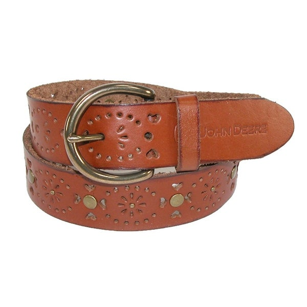 John Deere Women's Leather Raw Edge Western Belt with Removable Buckle