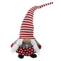 "20.5"" Red, White and Gray Smiling Christmas Pixie Gnome"